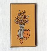 """Cat Flowers: Mini Card, 3.5""""x2"""""""