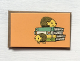 """Hedgehogs with Books: Mini Card, 3.5""""x2"""""""