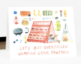 """Overpriced Camping Gear,"" Blank Greeting Card"