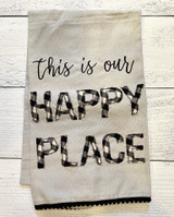 """Our Happy Place,"" Embellished Tea Towel"