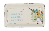 """Imagine. Dream. Believe."" Beaded Edge Trinket Dish"