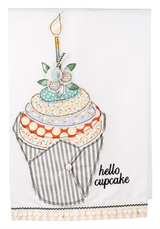 """Hello Cupcake"" Embellished Tea Towel"