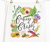 """Farm Fresh"" Honey Brush Design Tea Towel"