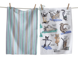 Cat Yoga Dish Towels, set/2