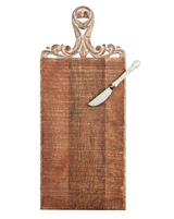 Carved Mango Wood Board with Spreader, Rectangular