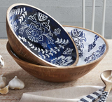 Indigo Carved Wood Bowl--CHOOSE SIZE