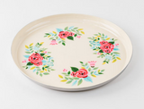 """Handpainted Floral Tray, Stainless Steel 15.75"""""""