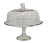 Glass Cake Stand with Hobnail Detail & Cloche