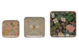 Square Floral Enameled Wood Plate--CHOOSE SIZE/DESIGN