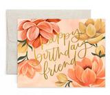 """Happy Birthday Friend"" Petaluma Floral Blank Greeting Card"
