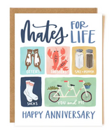 """""""Mates for Life"""" Anniversary Blank Greeting Card"""