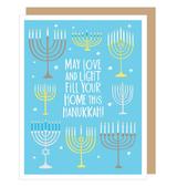 Eight Menorahs Hanukkah, Single Card