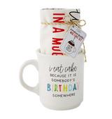 """Someone's Birthday Somewhere"" Mug Cake Set, Mug + Tea Towel"