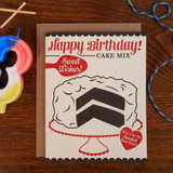 Box Cake Birthday, Blank Greeting Card