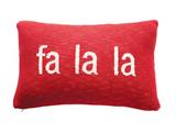 """fa la la"" Red & White Knit Lumbar Pillow, 24""x16"""