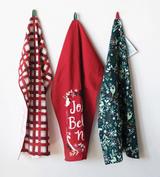 """Jolly Believe Noel"" Holiday Prints Cotton Kitchen Towels--CHOOSE DESIGN"