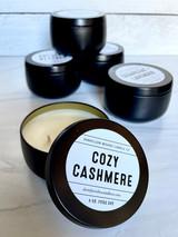 Cozy Cashmere, Matte Black Tin with Lid, 8oz