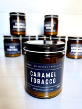 Caramel Tobacco, Amber Jar Candle with Lid, 9oz