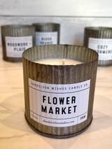 Flower Market, Rustic Galvanized Tin Candle, 12oz