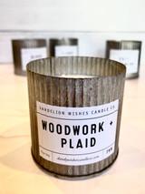 Woodwork + Plaid, Rustic Galvanized Tin Candle, 12oz