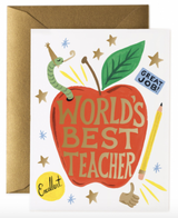 """World's Best Teacher"" Apple, Rifle Paper Co. Blank Greeting Card"