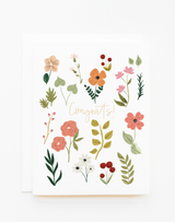 """Floral """"Congrats!""""Blank Greeting Card"""