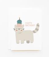 """Happy Birthday Cat!"", Blank Greeting Card"