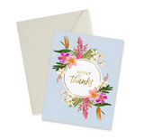 """""""Many Thanks"""" Gold Foil Floral, Blank Greeting Card"""