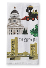 Sacramento Collage, Tea Towel