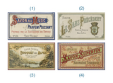 Matchbox with Safety Matches, 4 French Soap Labels