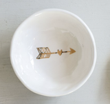 Ceramic Trinket Bowl with Gold Arrow
