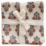 Cotton Printed Floral Napkins, 4 designs; set of 4