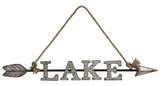 """Lake"" Arrow Sign with Rope Hanger"