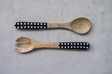 Mango Wood Servers with Black Gingham Handles, set 2