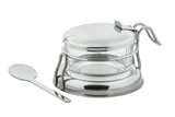 Glass Condiment/Salt Jar with Lid and Spoon