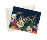Floral Congrats, Gold Foil, blank greeting card