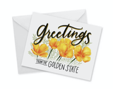 Poppies, Greetings from the Golden State, blank greeting card