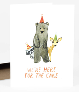 """""""Here for the Cake"""" Woodland Birthday, Blank GreetingCard"""