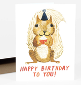 Squirrel Birthday Blank Greeting Card