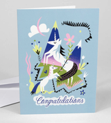 """Congratulations"" Unicorn Love, Blank Greeting Card"