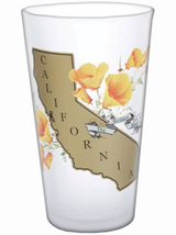California Poppy Frosted Pint Glass, 16oz
