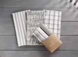 Happy Dish Towel Set, Grey on White, set/3