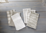 Happy Dish Towel Set, Grey & White, set/3--CHOOSE DESIGN