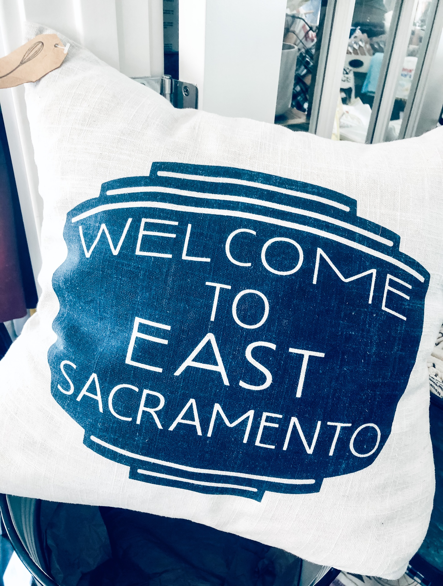 East Sac Sign Pillow