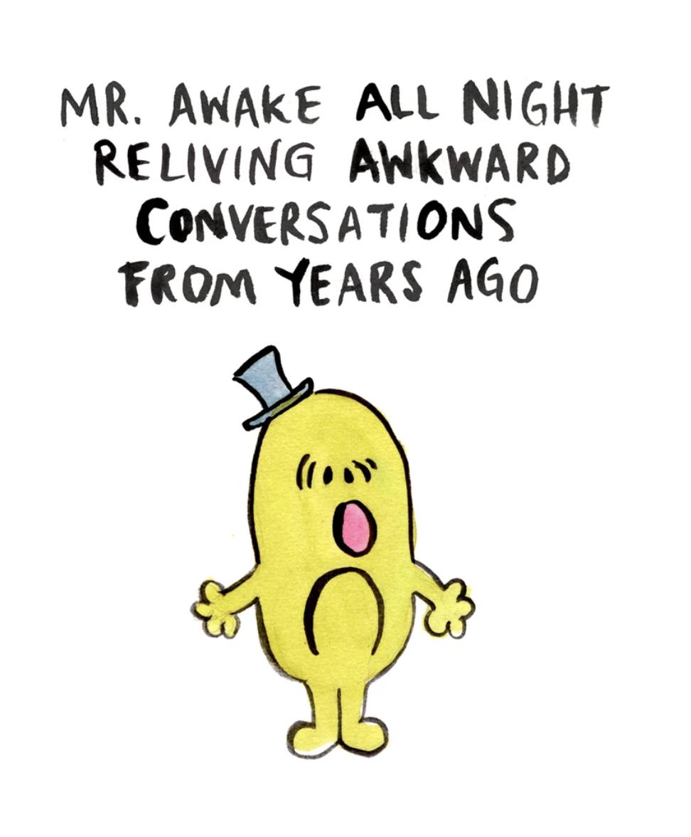Mr Awake All Night, Blank Greeting Card