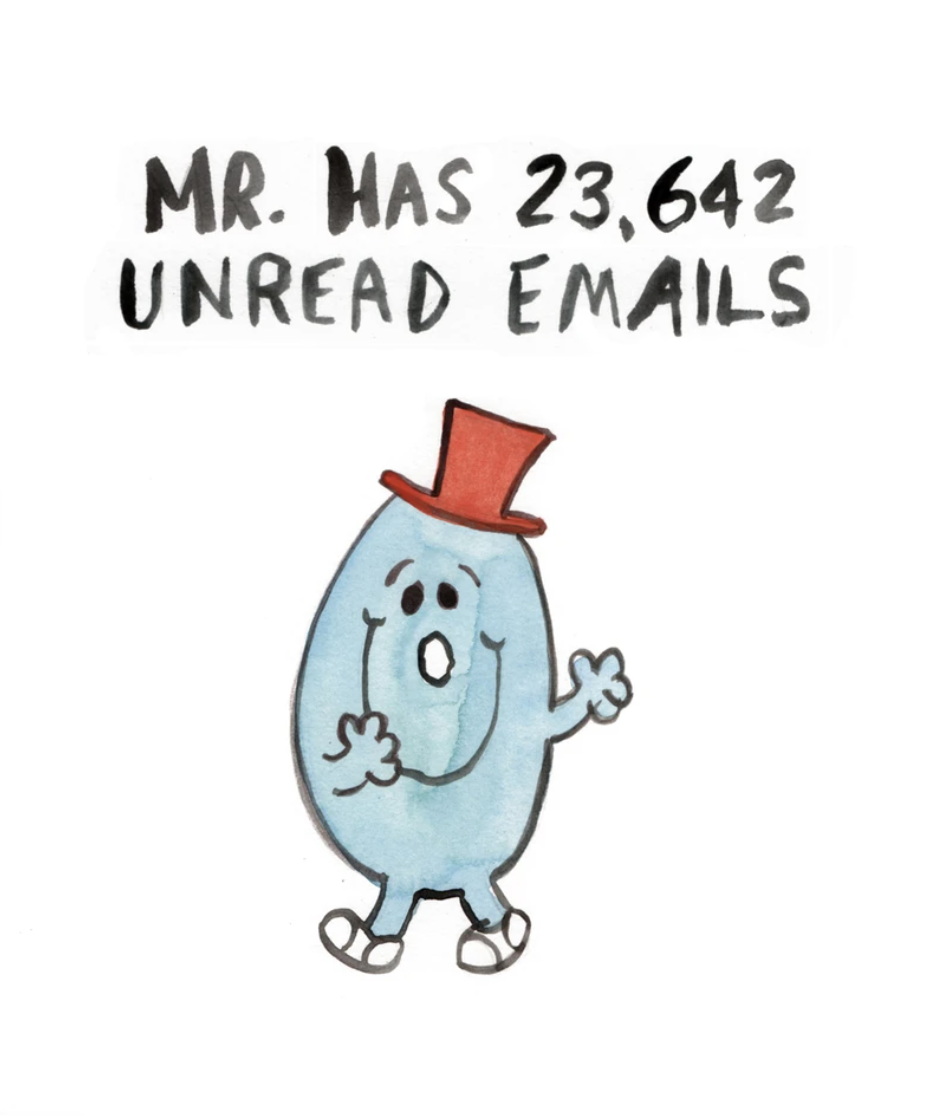 Mr Unread Emails, Blank Greeting Card