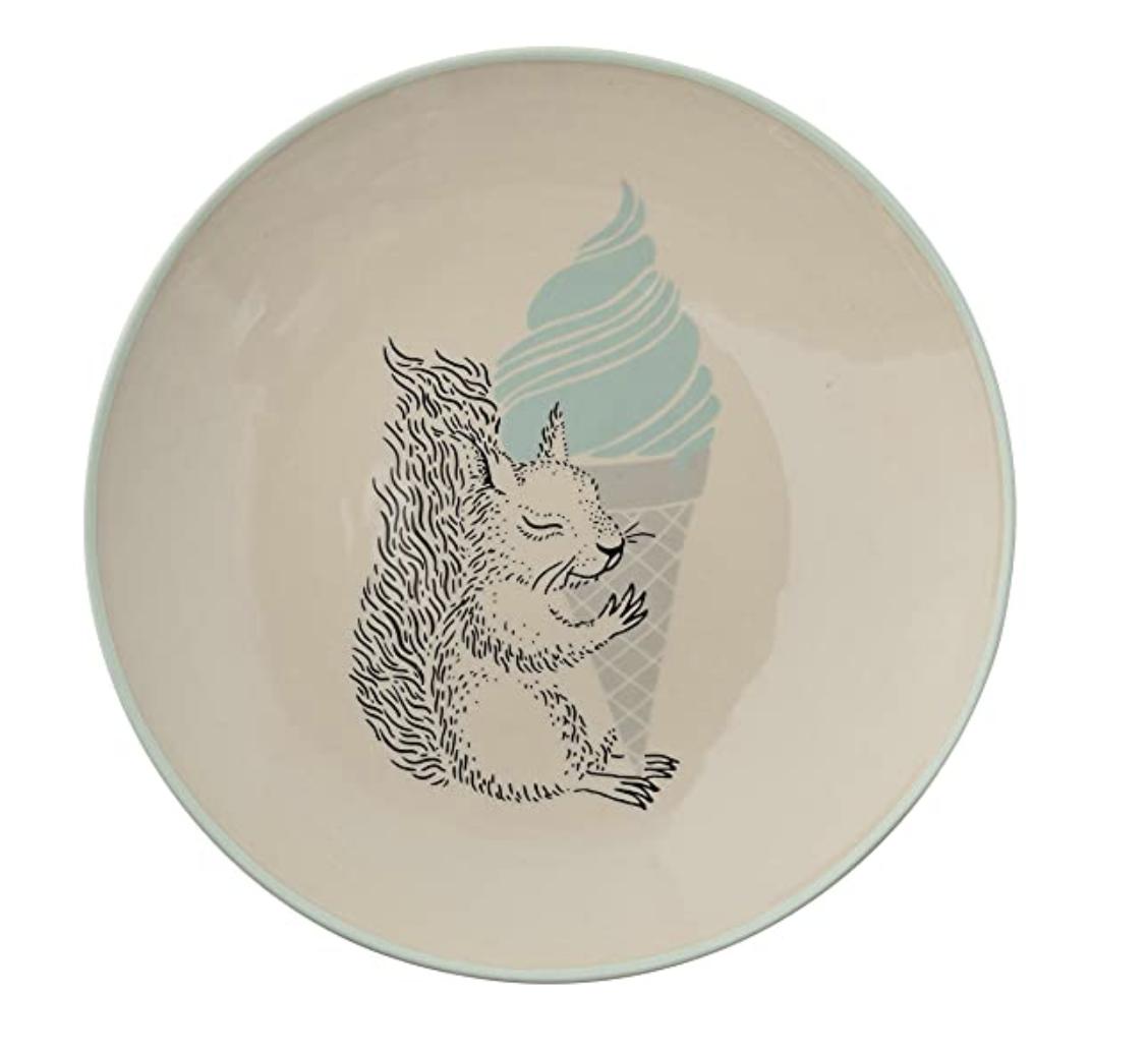 Squirrel & Ice Cream Cone Ceramic Plate