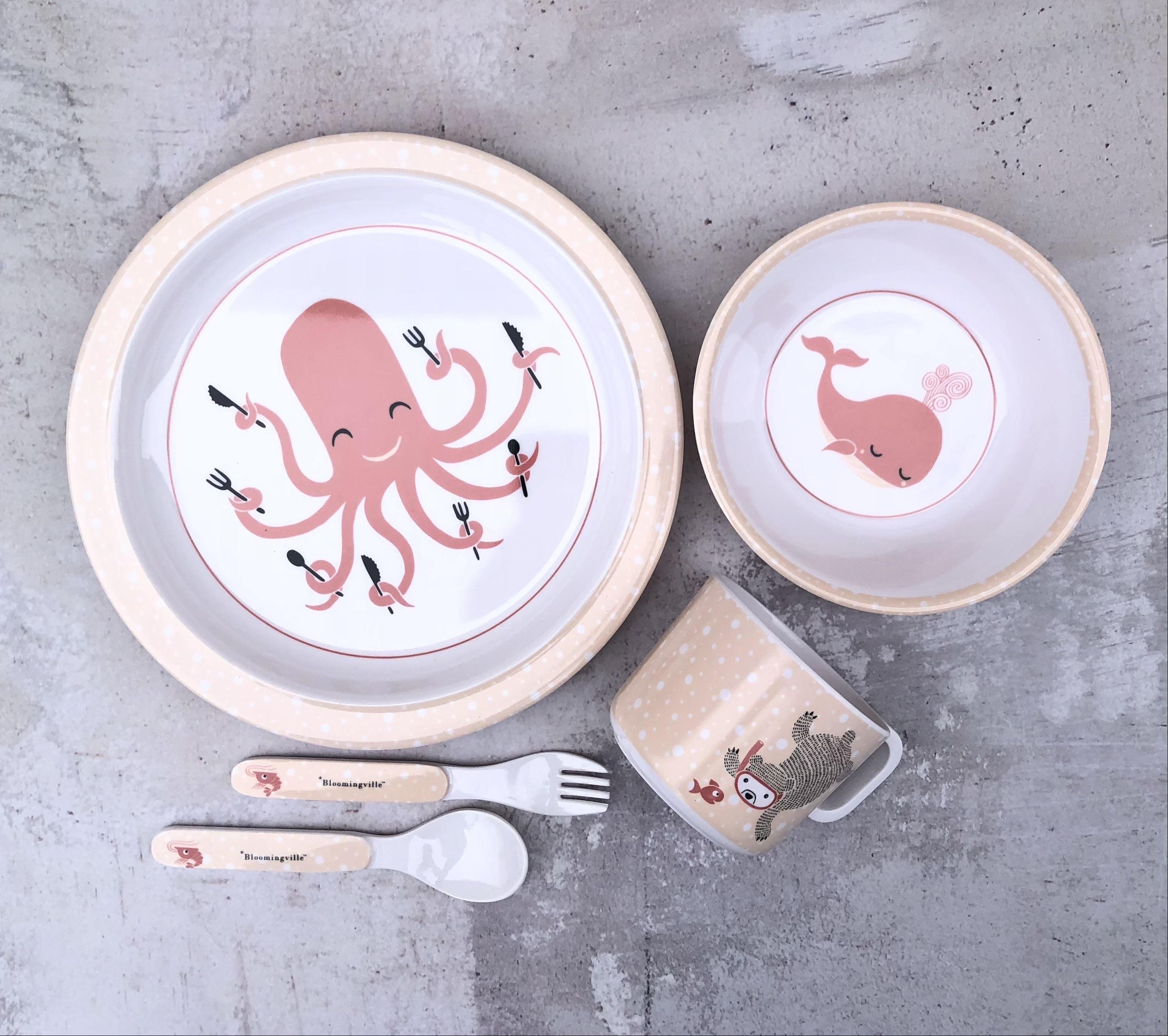 Melamine Kids' Dish Set--CHOOSE DESIGN/COLOR