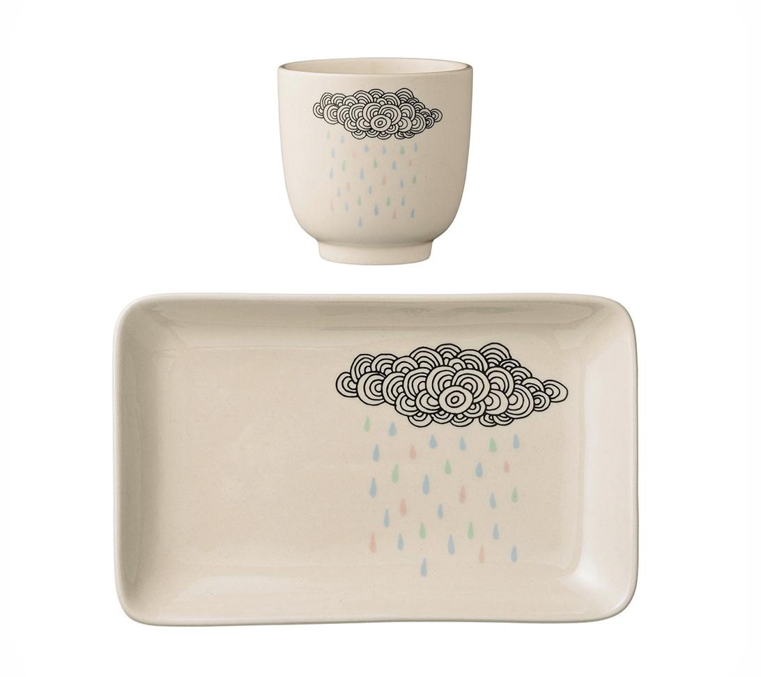 Ceramic Rain Cloud Plate and Cup Set