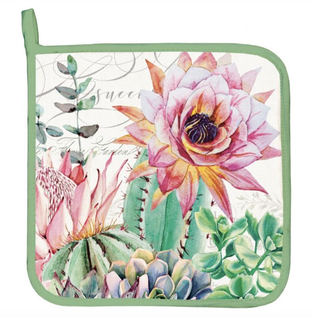 Michel Design Potholder: Pink Cactus